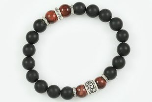 10mm Red Tiger Eye & Matte Black Onyx Beaded Silver Bracelet BB-058