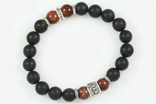 10mm Red Tiger Eye & Matte Black Onyx Beaded Silver Bracelet BB-058