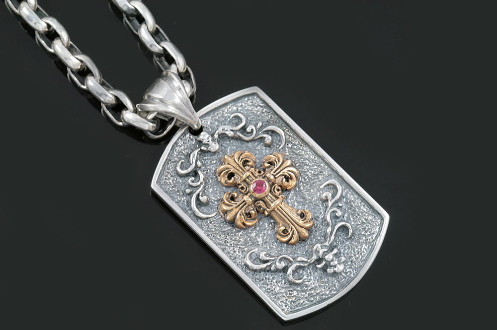 Abbey Gothic Cross Two Tone Silver Tag Pendant PT-011