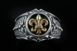 Adrian Bronze Fleur De Lis Sterling Silver Ring MR-044