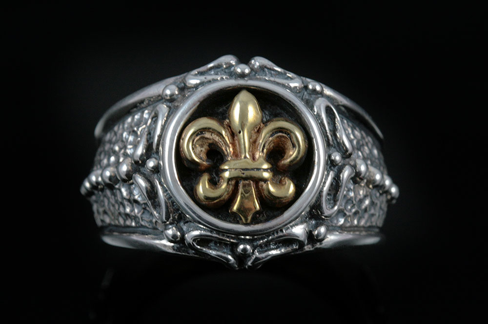 Adrian Bronze Fleur De Lis Sterling Silver Ring MR-044