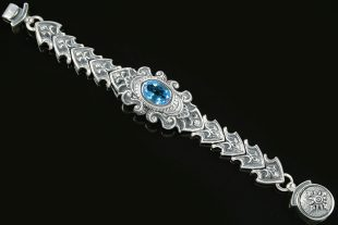 Alexandrina Ladies Baroque Luxurious Silver Blue Topaz Bracelet LBR-016