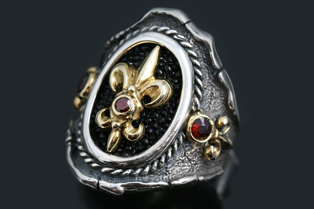Allegra Fleur-De-Lis Stingray Skin Red Ruby Silver Ring MR-146