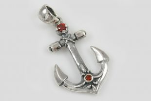 Anchor Red Garnet Sterling Silver Pendant PT-117