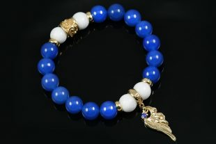 Angel Wing Charm 10mm Blue & White Agate Beaded Bracelet BB-085A
