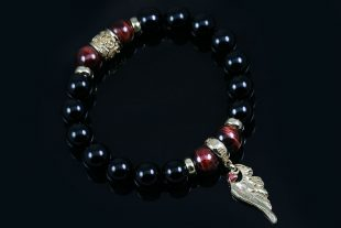 Angel Wing Charm 10mm Onyx & Red Tiger Eye Beaded Bracelet BB-085B