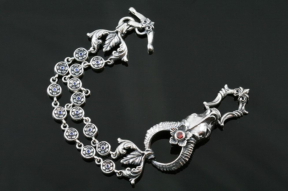Antilope & Flowers Sterling Silver Bracelet LBR-052