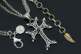 Apostolic Cross Silver Necklace With Black Zircon Stones PT-155B
