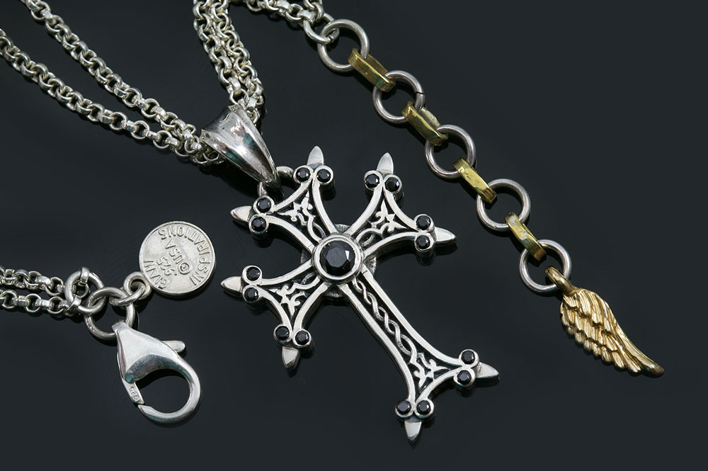 Apostolic cross black zircon silver necklace pt 155b apostolic cross silver necklace with black zircon stones pt 155b aloadofball Image collections