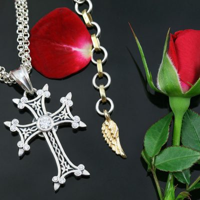 Apostolic Cross Silver Necklace With Clear Zircon Stones PT-155C