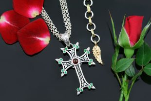 Apostolic Cross Silver Necklace With Green Zircon & Red Garnet Stones PT-155GR