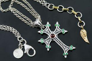 Apostolic Cross Silver Necklace With Green Zircon & Red Garnet Stones PT-155GR