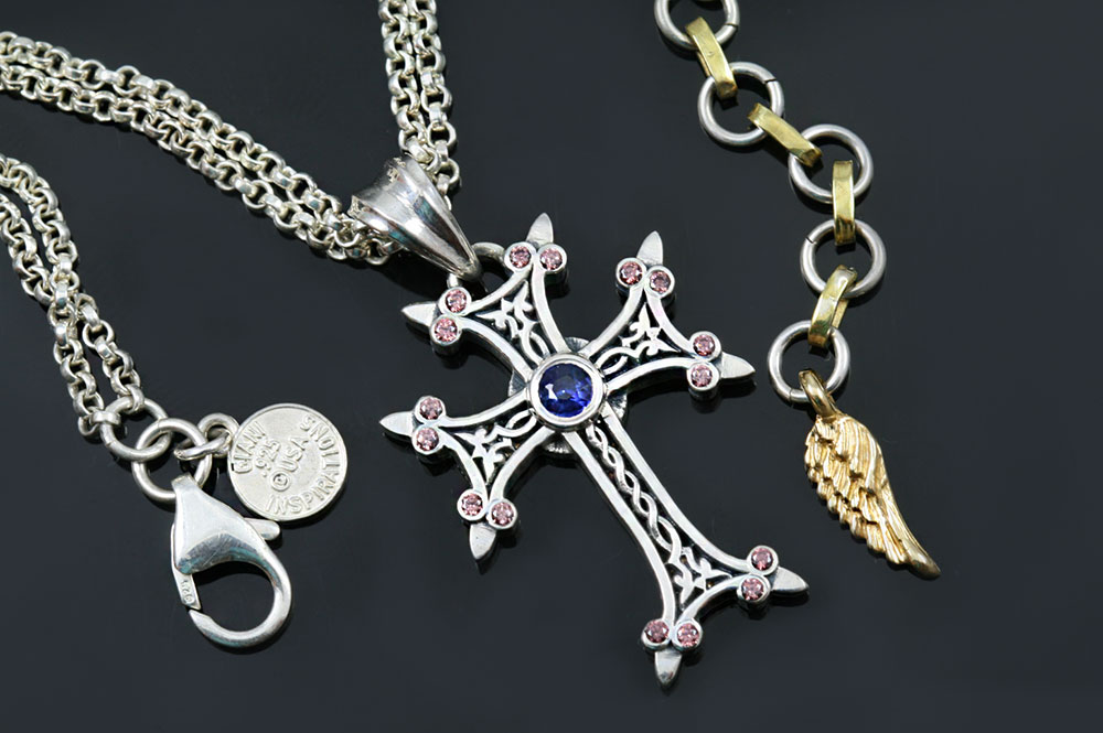 Apostolic Cross Silver Necklace With Pink Coffee & Blue Zircon Stones PT-155PCB