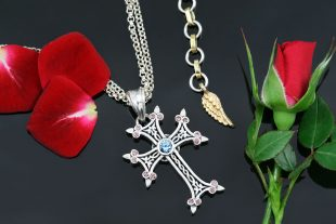 Apostolic Cross Silver Necklace With Pink Coffee & Light Blue Zircon Stones PT-155PCLB