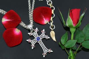 Apostolic Cross Silver Necklace With Red & Blue Zircon Stones PT-155RB