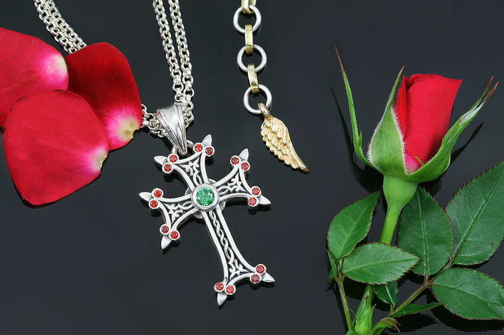 Apostolic Cross Silver Necklace With Red & Green Zircon Stones PT-155RG