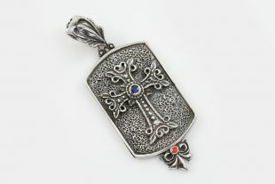 Apostolic Silver Cross Tag Charm Pendant With Zirconia PN-093