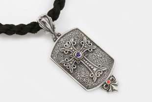 Apostolic Silver Cross Tag Charm Pendant With Zirconia PN-093