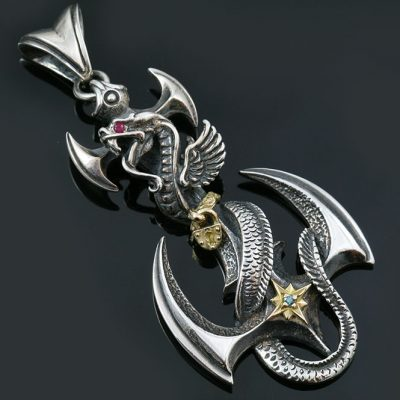 Aquarius Dragon Twisted on Axe Gold & Silver Pendant PN-002