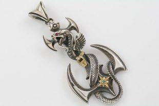 Aquarius Dragon Twisted on Axe Gold & Silver Pendant PN-002