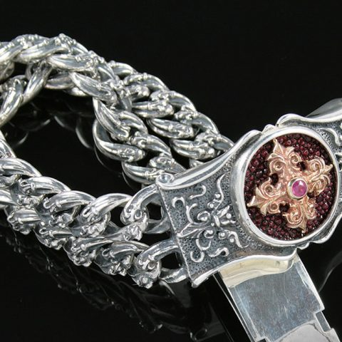 Arial Gothic Cross Design Historic Two Tone Silver Bracelet BR-001