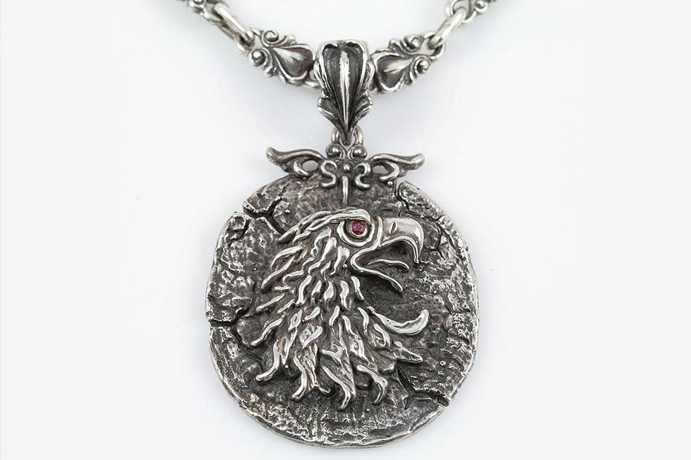 Arian Eagle Iconic Oxidized Silver Pendant PT-026