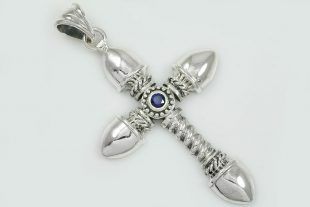 Armor Cross Natural Blue Sapphire Two Tone Silver Pendant PT-061