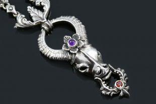 Artemis Amethyst Flower Crowned Impala Head Silver Necklace NK-141