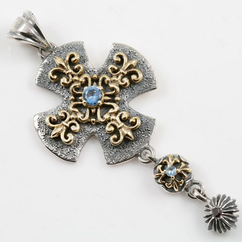 Asella Blue Topaz Two Tone Cross Silver Pendant PT-065