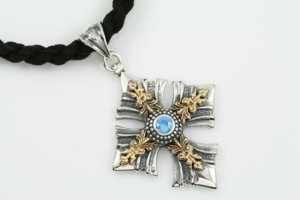 Athena Cross Blue Topaz Two Tone Silver Pendant PT-067