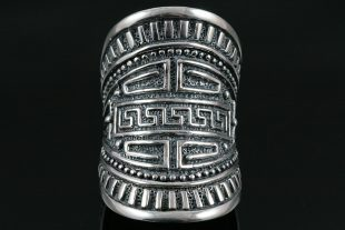Athena Greek Ornaments Oxidized Silver Long Ring LR-073
