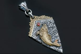Atlantis Fish in Greek Pattern Silver Pendant With Red Garnet PT-077G
