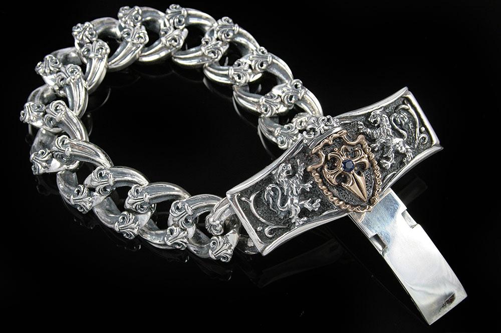 Austrian Shield Cross Sterling Silver Bracelet BR-004