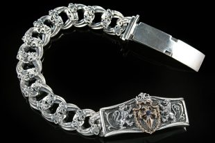 Austrian Shield Cross Sterling Silver Bracelet BR-004