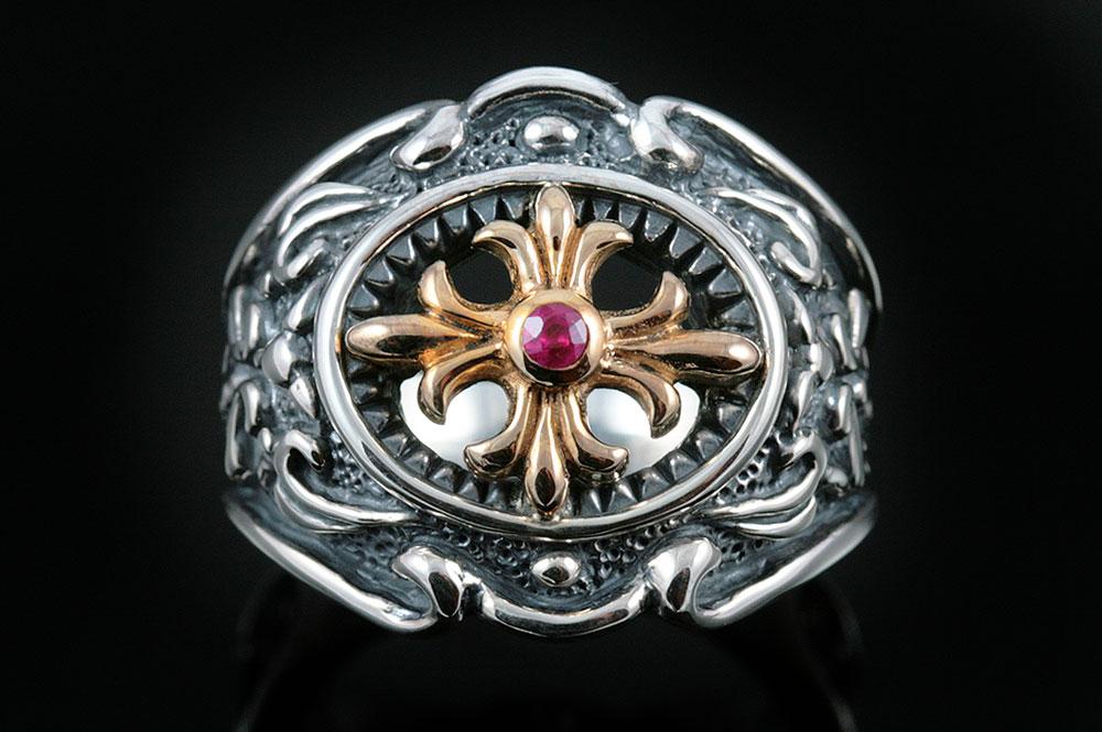 Avalon Cross & Ruby Sterling Silver Ring MR-042