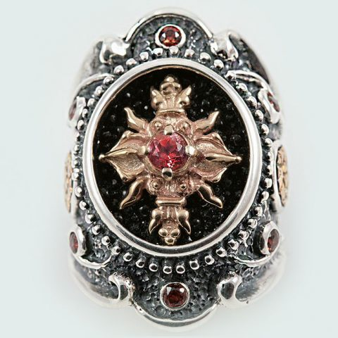 Ave Maria Baroque Oxidized Silver Ring With Garnet & Blue Topaz LR-066