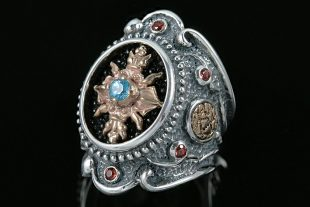 Ave Maria Baroque Oxidized Silver Ring With Garnet & Blue Topaz LR-066