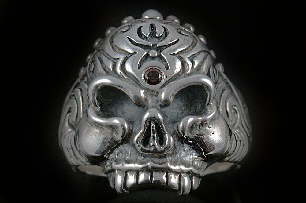 Aztec Skull Sterling Silver Ring MR-015