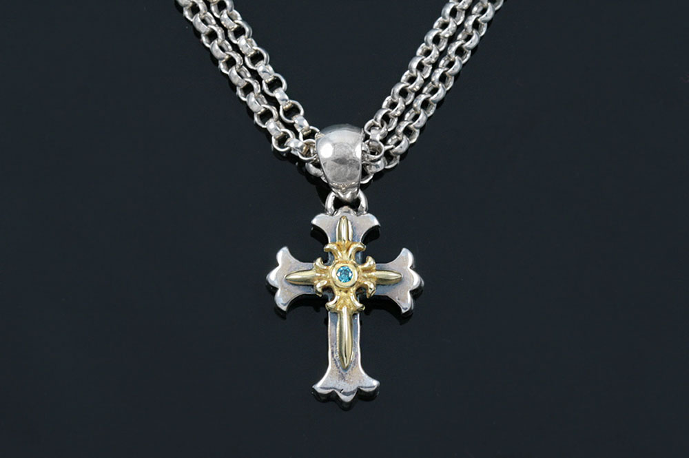 Baby Cross Green Diamond Two Tone Gold & Silver Necklace CH-104