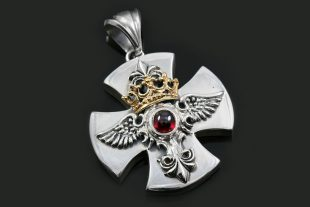 Baldwin Angel Wings Crown Cross Silver Pendant PN-034