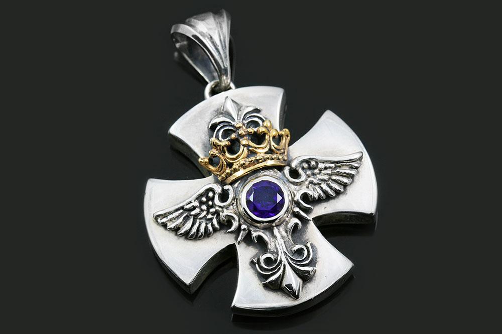 Baldwin Angel Wings Crown Cross Silver Pendant PN-034