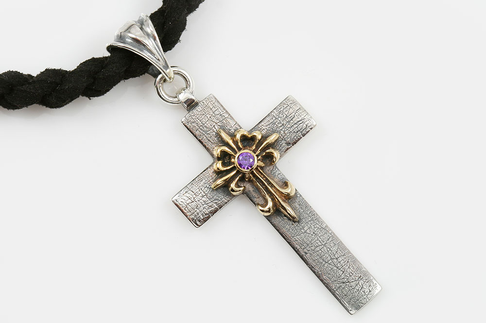 Baptist Cross Natural Purple Amethyst Two Tone Silver Pendant PT-068