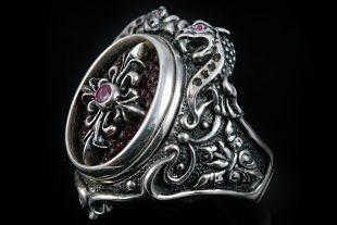 Barbarossa Dragon Ruby Silver Ring MR-027