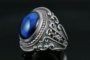 Baron Blue Sapphire Silver Ring MR-030SB