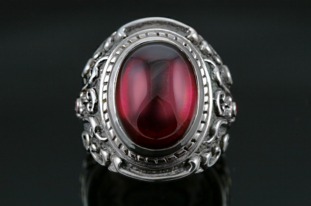 Baron Red Ruby Silver Ring MR-030SR