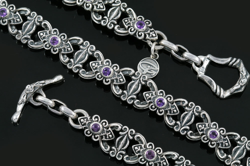baroque amethyst sterling silver luxurious necklace nk 123