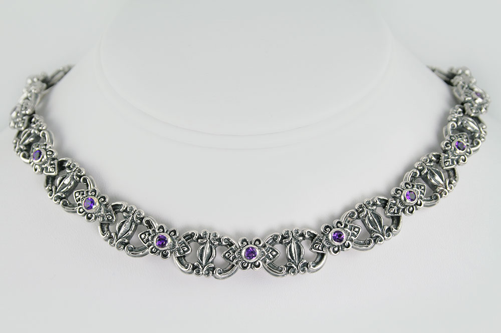 Baroque Amethyst Sterling Silver Luxurious Necklace NK-123