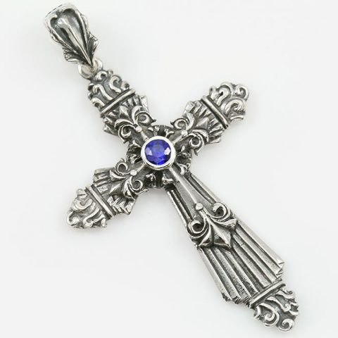 Baroque Cross Natural Blue Sapphire Two Tone Silver Pendant PT-040
