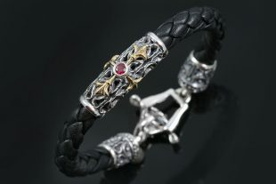 Basegio Black Bolo Roman Culture Leather Silver Bracelet BR-021