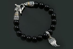Bendosa Lion Claw Silver Charm 10mm Onyx Beaded Bracelet BB-043